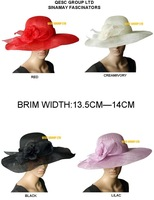 NEW DESIGN.Brim Width in 14cm.Sinamay Fascinator Hat For Races,Wedding And Church.Free Shipping.Red,Black,Lilac,Cream Color.