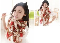 Fashion all-match wheel silk scarfs NEW Style Women's Long velvet chiffon scarf lady's accessories