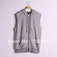 FREE SHIPPING 2013 womens Hoodies sleeveless with a hole zipper-up hood strap casual slim sports sweatshirt female outerwear