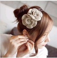 Winter new Korean romantic flowers knitted woolen cloth a headdress hair accessories hair bands headband