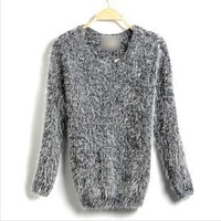 New Fashion Womens Cross Pattern Knit Sweater Outerwear Crew Pullover Tops Freeshipping long Sweater
