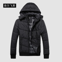 Free shipping, Delbono men's autumn and winter clothing thickening outerwear casual outdoor wadded with hood wadded jacket coat