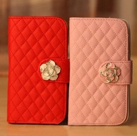 Brand Flip Wallet Credit Card Bling Diamond Rose Magnetic Stand Leather Cases Cover For Samsung Galaxy Mega 6.3 i9200 Bags N347