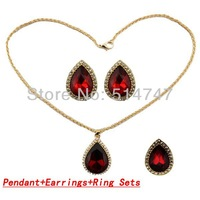 Free Shipping Australia Crystal 18k Gold Plated Pendant+Earrings+Ring Sets for Women JS098