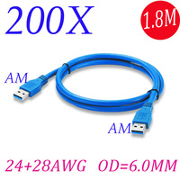 200pcs /lot 1.8M 6ft USB3.0 AM To AM Type A Male To A Male Extension Cable Color Blue Shipping By FedEx