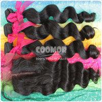 6A Grade Peruvian Virgin Hair Extensions with closure Loose Wave  100% unprocess virgin hair natural 1B medium luster