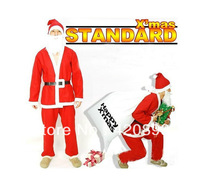 Free Shipping-Wholesale 5 Items One Set  Santa Claus X'Man Christmas Clothes Installation Men Christmas Decoration Dress