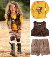 BCS100 Freeshipping cartoon long-sleeved T-shirt + vest + shorts girls suits new arrival baby set lovely children clothes retail