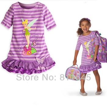 Retail Purple Cartoon Flower Fairy Casual Cotton Girls' Dress Baby Kids 2014 ...