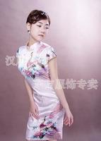 Short-sleeve peacock han flag short fw010036-p tang suit formal dress women's short skirt