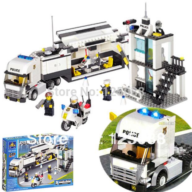 KAZI 6727 511pcs 3D Construction eductional Bricks Building Block Sets Police Truck car Enlighten children toys Christmas Gifts(China (Mainland))