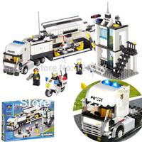KAZI 6727 511pcs 3D Construction eductional Bricks Building Block Sets Police Truck car Enlighten children toys Christmas Gifts