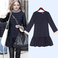 Hot sale !Free shipping 2013 women's skirt fashion plaid slim long-sleeve autumn and winter one-piece dress