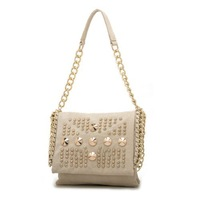 YZL Lady's White Rivet Tote Bag with Metal China women handbag Fashion men messenger bags