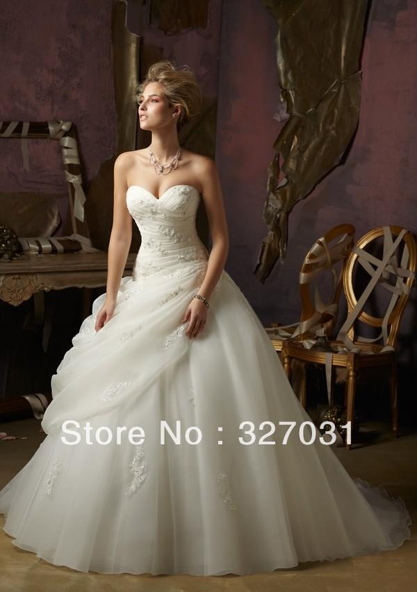 2014 Free Shipping Most Fashion Perfectly Looking Organza Applique Court Train Bridal Wedding Dress(China (Mainland))
