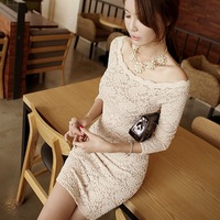 2013 autumn and winter sexy lace long-sleeve slim hip one-piece dress new arrival women's