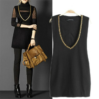 2013 fashion autumn and winter one-piece dress vest skirt spring and autumn women's tank dress V-neck outerwear short skirt