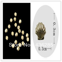 100PCS Gold 3*3mm 3D Metallic Shell Studs DIY Nail Art Decoration     NA028