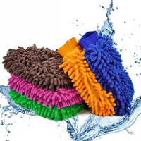 Car ultrafine fiber single face double faced chenille gloves multi purpose dishclout cleaning gloves car home