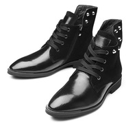 2014 New Fashion Men's Winter Genuine Leather High The Trend Of Fashion Martin Male Riding Winter Black Ankle Boots
