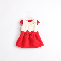 wholesale 5pcs/lot children bow plush cap sleeve tank dress white / red winter girl dress