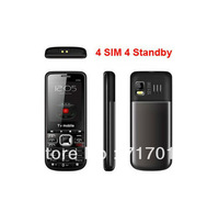 4 SIM Cards 4 standby unlocked Quand band TV Moblile phone 6700 with Russian keyboard Free shipping