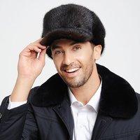 Men mink hat marten male cap leather strawhat caps fur hat winter thermal cotton cap style
