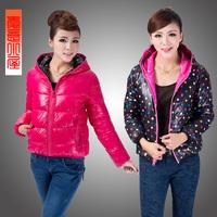 Free shipping 2013 winter wadded jacket female short design outerwear cotton-padded jacket plus size clothing long-sleeve