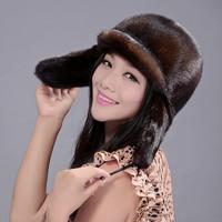 2013 fur hat women's full leather mink fur ear protector cap dome black