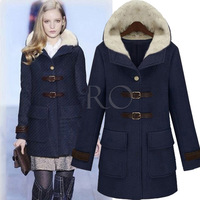 Free Shipping 2013 New Autumn Winter Long Wool Woollen Overcoat With Cotton Coat Fur Jacket Windbreaker Wholesale S-XXL 2 Color