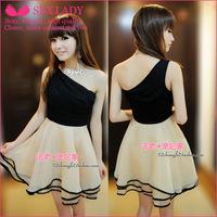 013 new nightclub fairy was thin waist dress bridesmaid dress black side skirt dress 997