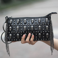 Novelty skeleton package rivet bag women's day clutch handbag messenger bag 1004 p38