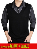 2013 winter SEPTWOLVES men's long-sleeve cashmere sweater faux two piece plus velvet thickening knitted sweater
