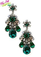 shourouk luxury european  big flower -shaped earrings crystal stones drop statement earring 6452