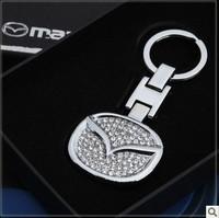 Free shipping Mazda grade aluminum alloy drill LOGO keychain car keychain gift