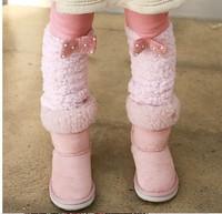 5pc/lot 2013 Fashion Winter Fur Leg Pearl Bow Fleece Leggings For Girls Kids Pants Garment Children Fleece Pants Pink Brown