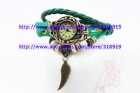 Discount sale Vintage Ladies Watch Owl Wings Pendant Item Hours Bead Bracelet Watches Retro Braided Genuine Leather Strap Watch