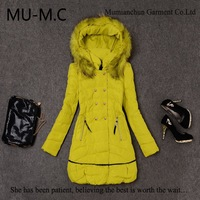 2013Wholesale New Arrived Winter Women's Zipper Slim Long Double-Breasted White Duck Down Jacket Warm Outerwear