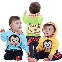 New arrival fashion 2014 autumn summer  baby boy big mouse monkey printing hooded 2 pcs clothing set long sleeves,hoodies+pants