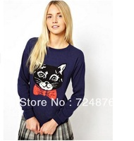 2013 Fall Winter new cartoon cat head jacquard pattern woolen pullover womens coat sweaters free shipping