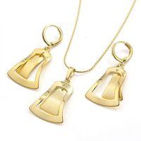 Vogue Windbell 14k Plain Yellow Gold Filled GF Women Dangle Pendant Earrings Set Free shipping