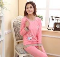 Autumn and winter women's long-sleeve sleepwear cotton balloon at home service  Pajamas set