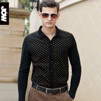 2013 autumn male fashion long-sleeve shirt patchwork