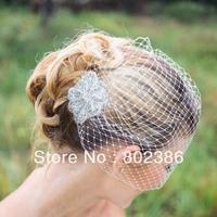 Wedding Birdcage Veil With Crystal rhinestone applique