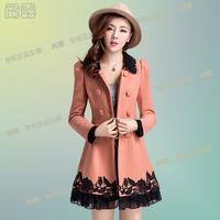 Wool double breasted wool coat medium-long woolen outerwear female autumn and winter 2013 slim woolen overcoat  Free shipping