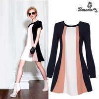 Free Shipping!2013  women one-piece dress fashion french style fashion slim elegant blue white color block