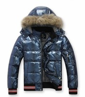 Free shipping clearance Men's clothing glossy detachable cap fashion male short down coat fur collar outerwear winter jacket