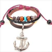 wholesale New 2013 vintage Leather anchor bracelet personality pirates of the Caribbean jewelry  bracelets & bangles  W2003