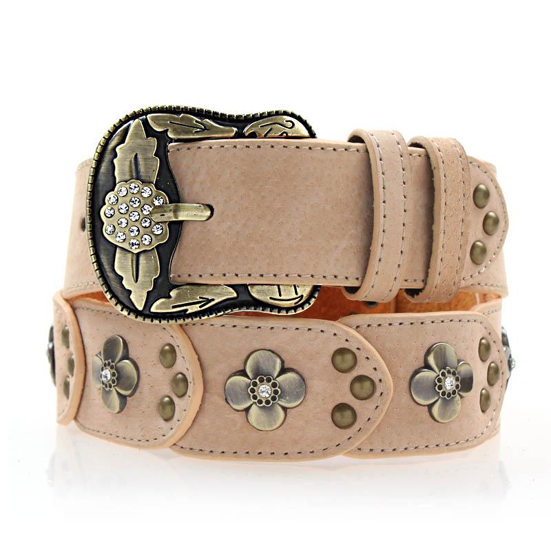 Cinto de fivela de couro genuíno feminino all-jogo decoração cinto de Cinturones mujer Moda strass mulheres do vintage(China (Mainland))
