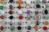 Fashion Jewelry Wholesale mixed lots 50pcs beautiful colorful different stone women's tredy rings w4322